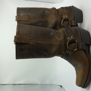 Fry Boots Leather Harness Buckle Distressed USA 7